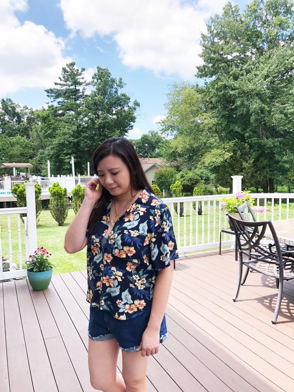 Navy Blue Floral Getaway Shirt 7