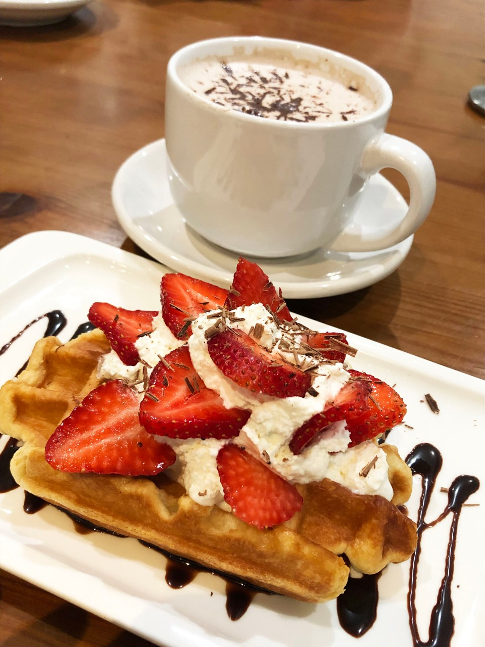 Fueling Station - Strawberry Waffle + Hot chocolate