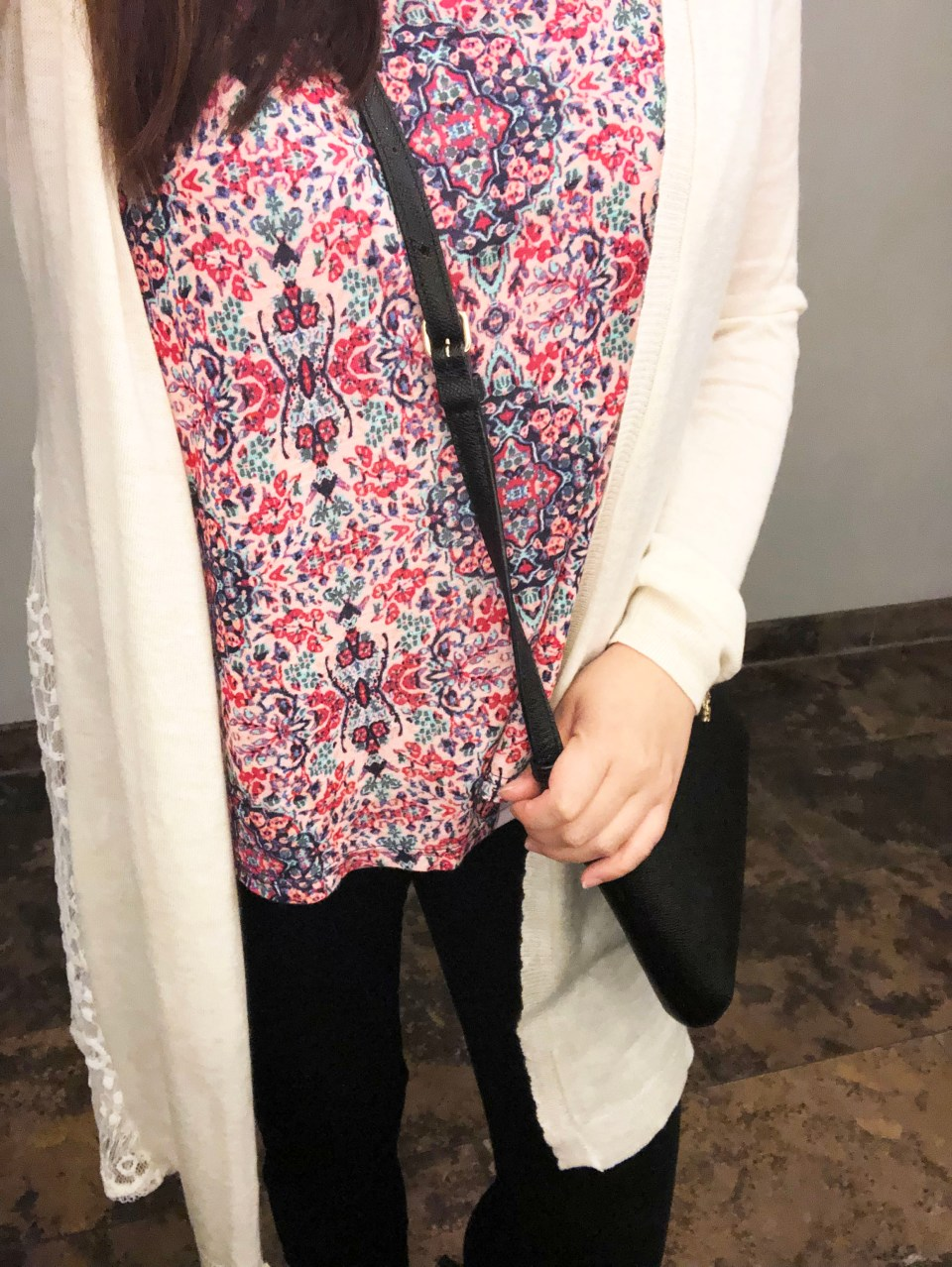 Lace Cardigan + Floral Top 1