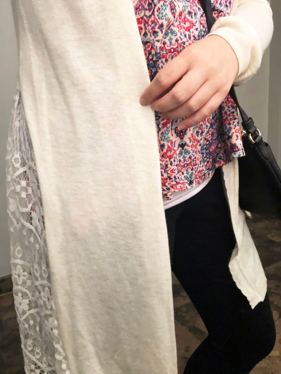Lace Cardigan + Floral Top 2