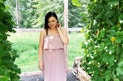 Mauve Split Midi Dress