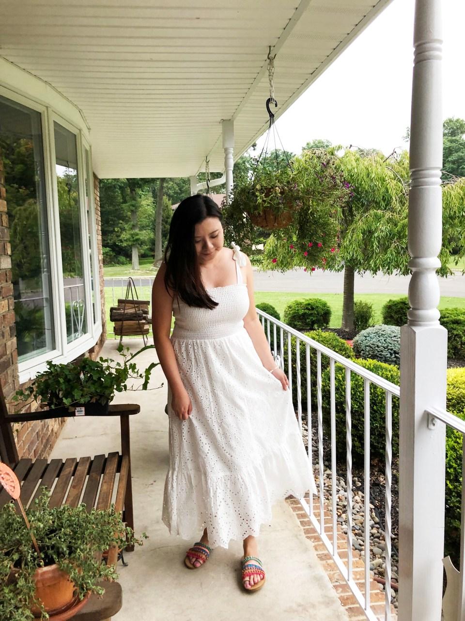 White Smocked & Eyelet Maxi Dress 10