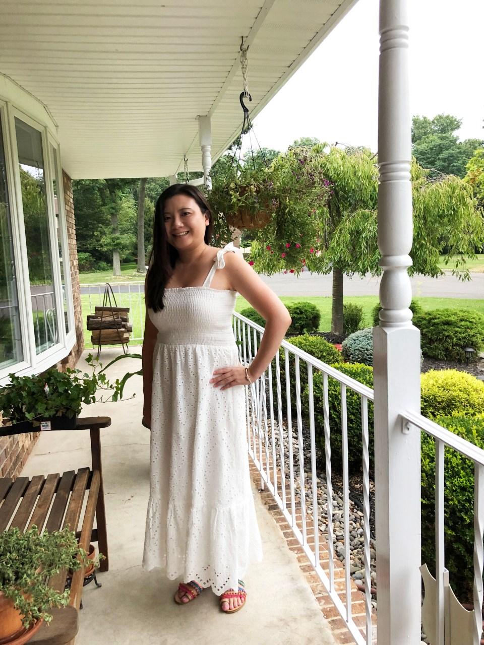 White Smocked & Eyelet Maxi Dress 11