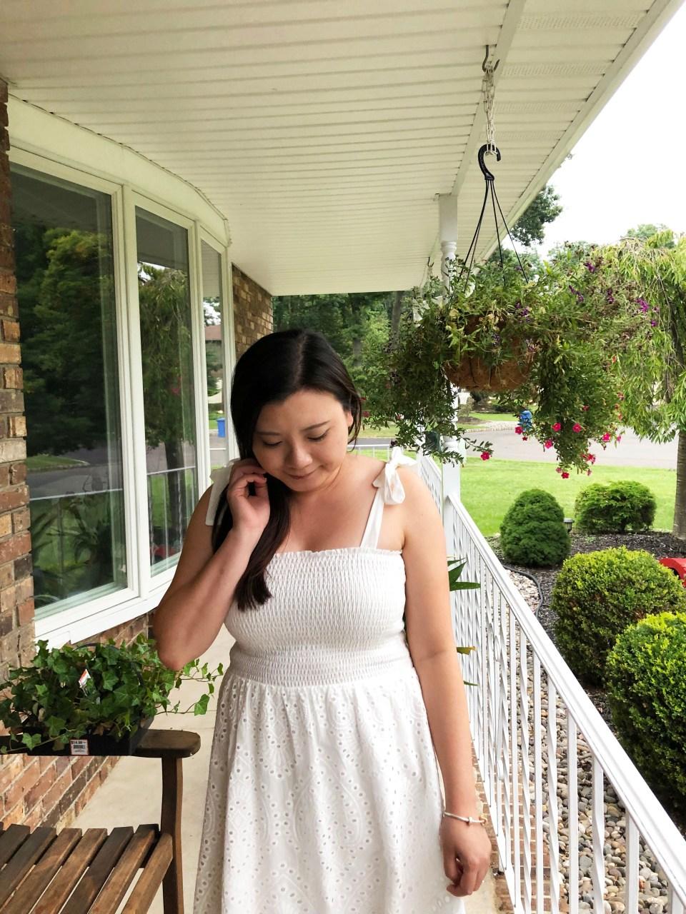 White Smocked & Eyelet Maxi Dress 12