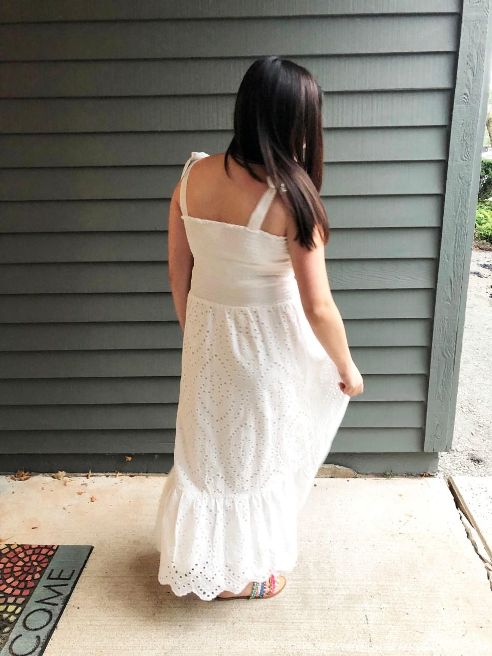 White Smocked & Eyelet Maxi Dress 4
