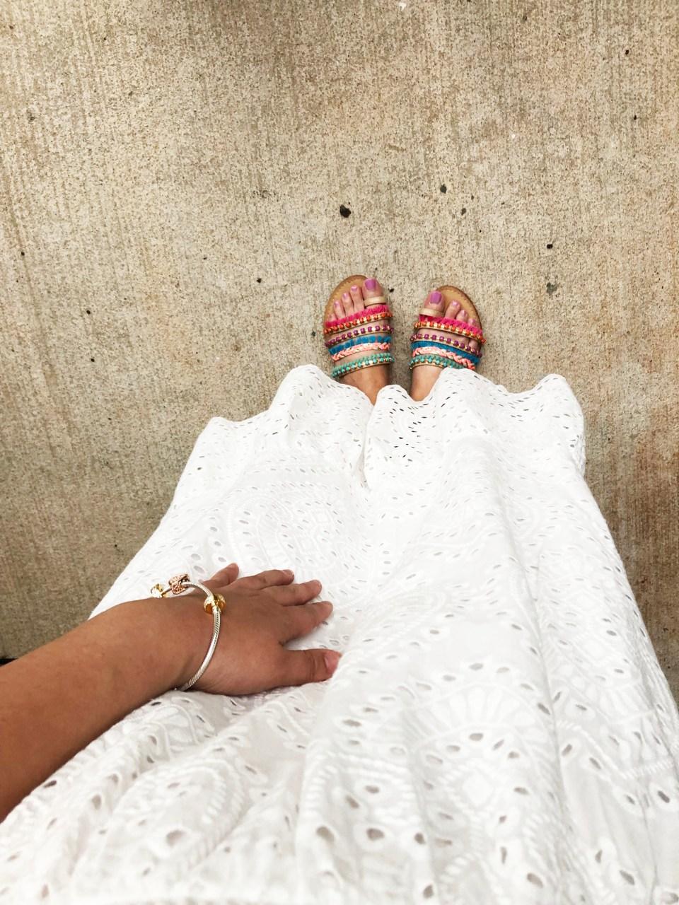 White Smocked & Eyelet Maxi Dress 6
