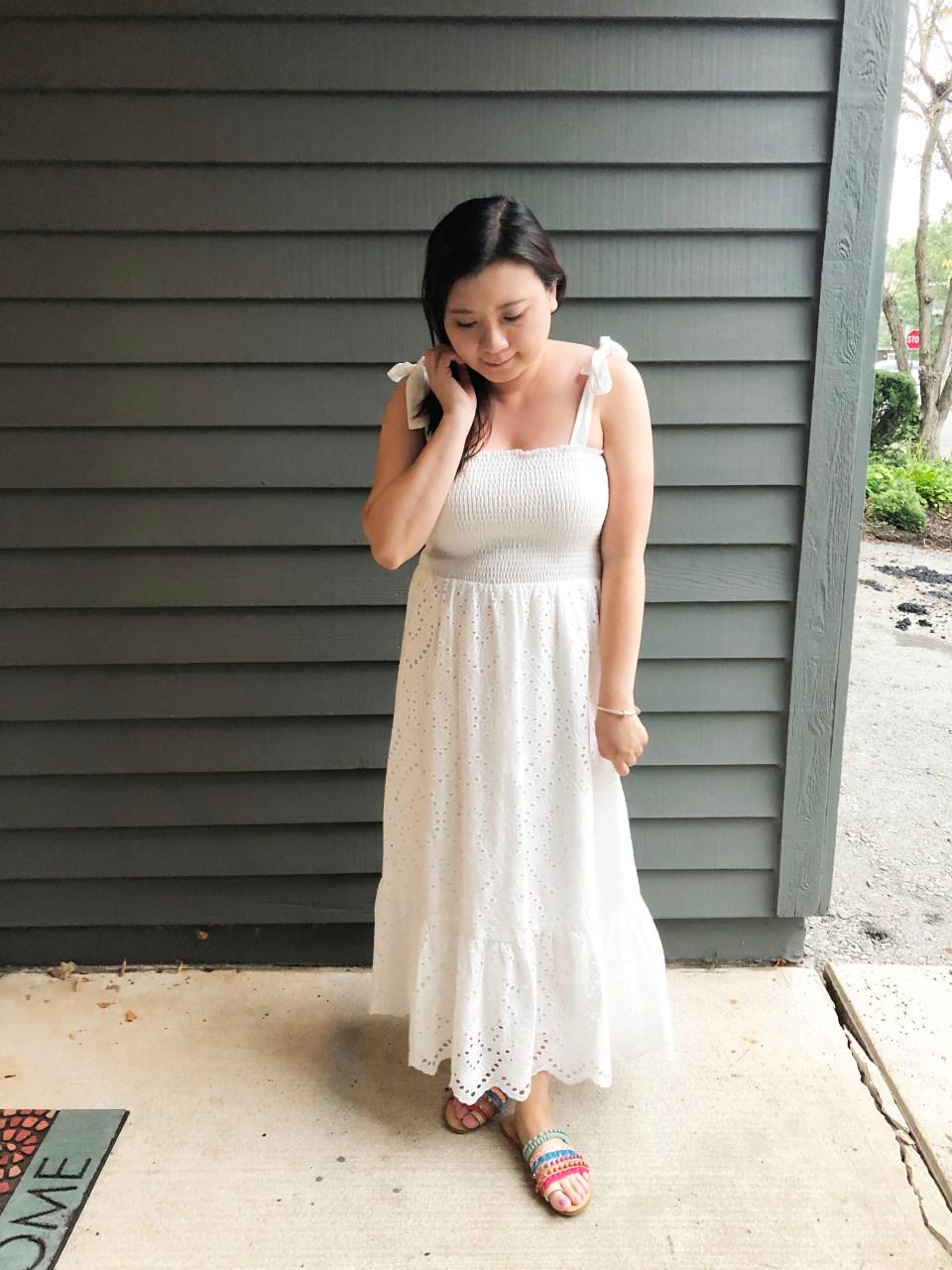 White Smocked & Eyelet Maxi Dress