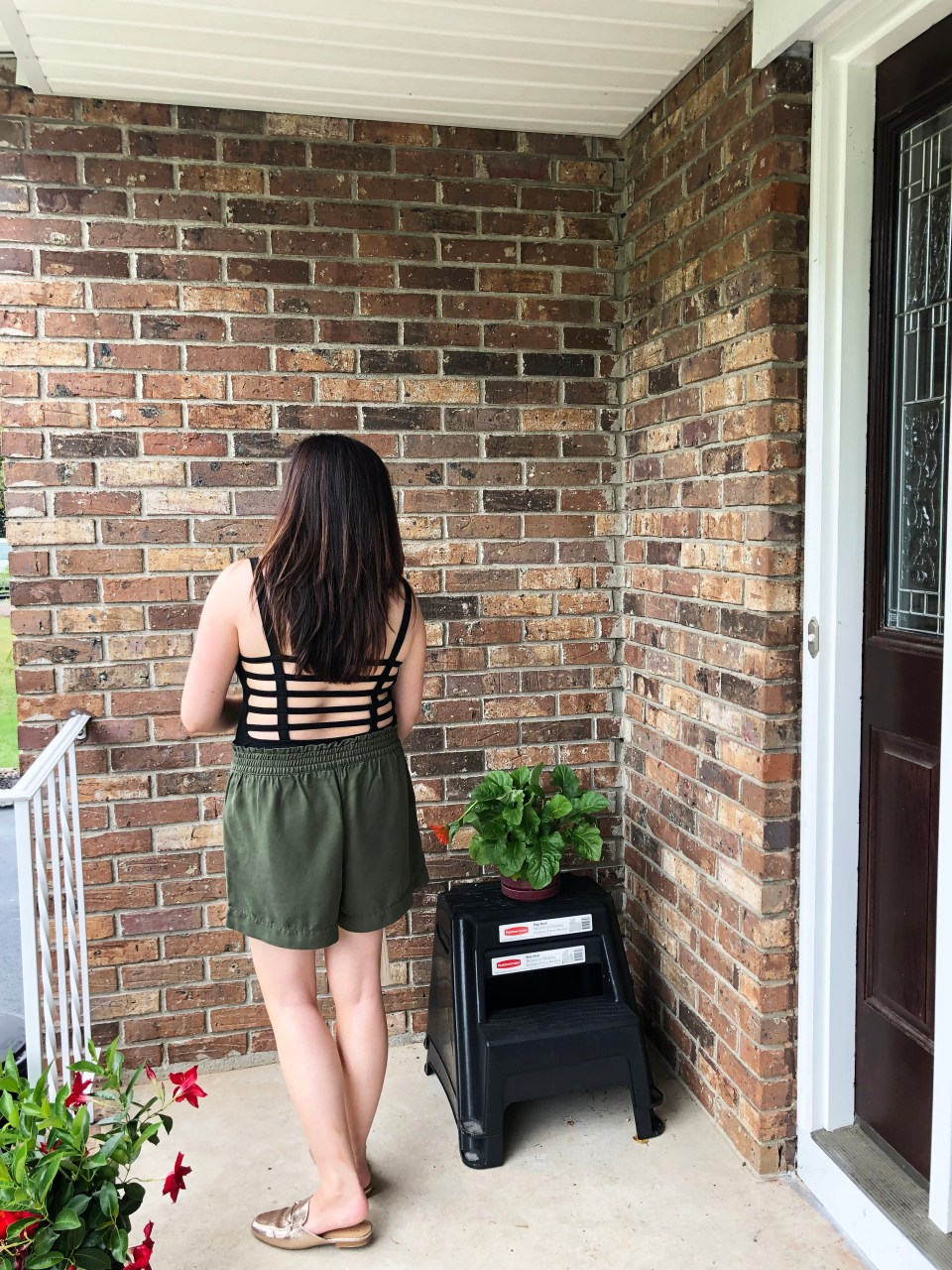Olive Green Button Front Shorts 12