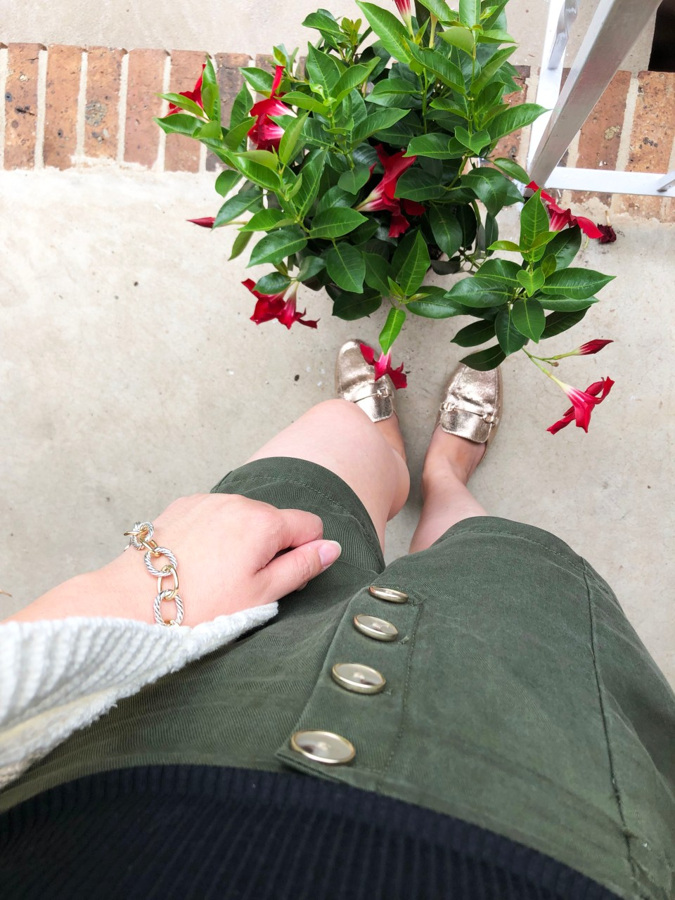 Olive Green Button Front Shorts 16