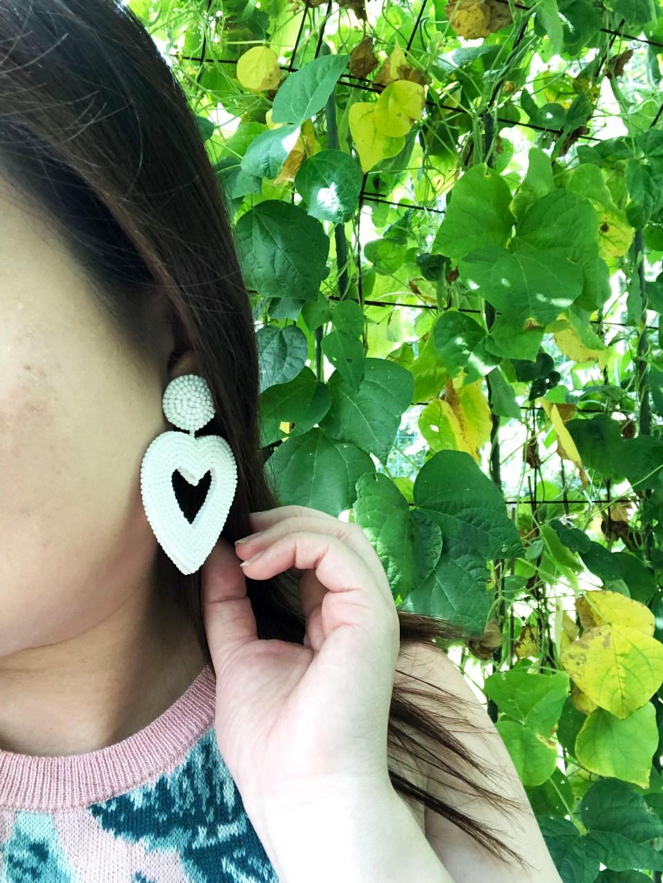 Palm Print Sweater Tank + Beaded Heart Earrings 11