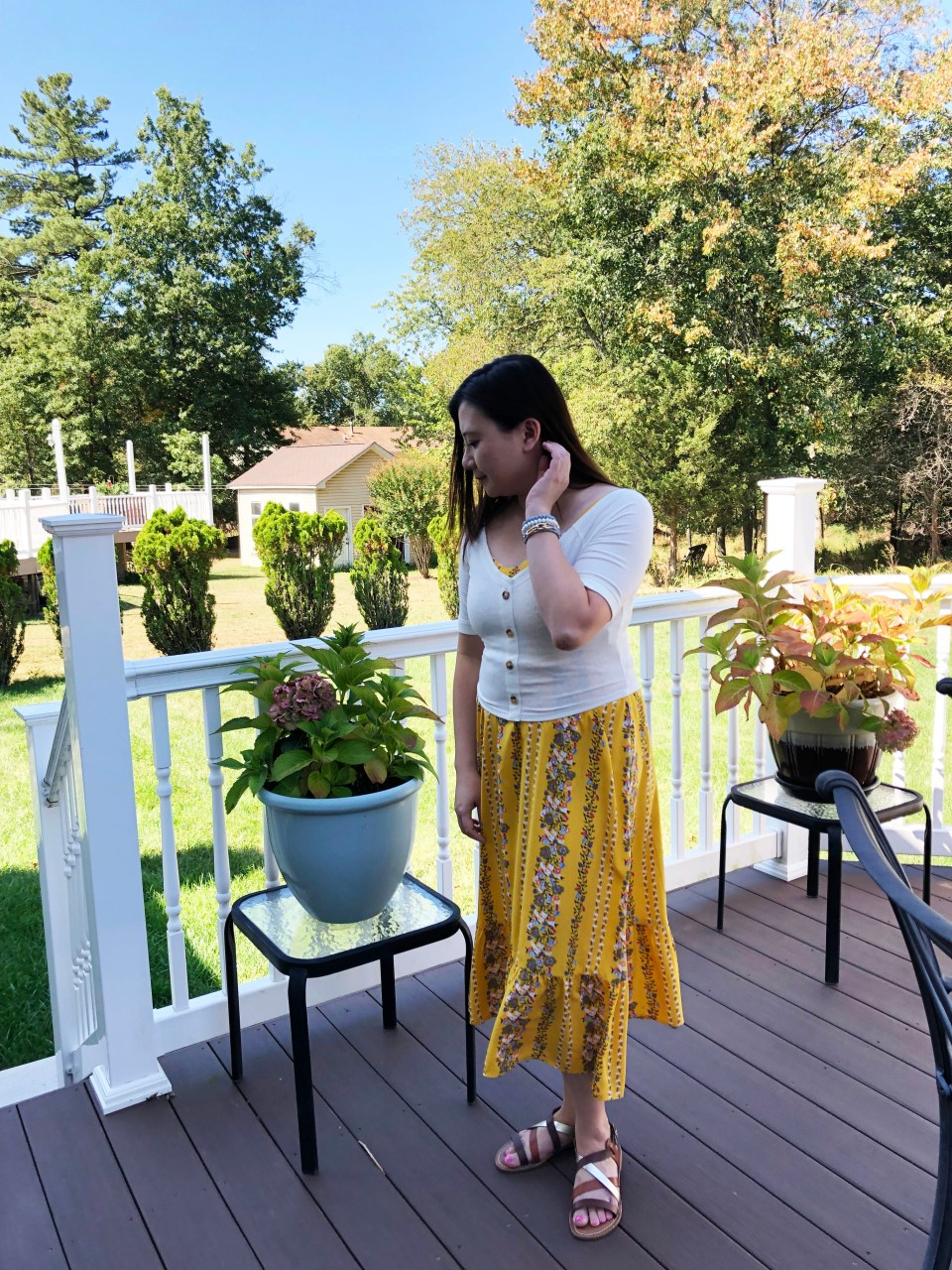 Yellow Floral Midi + Crop Top 11