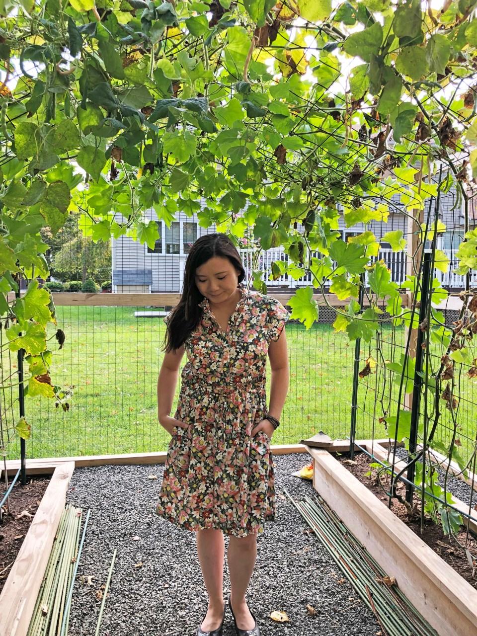 Floral Ruffle Drawstring Dress 1