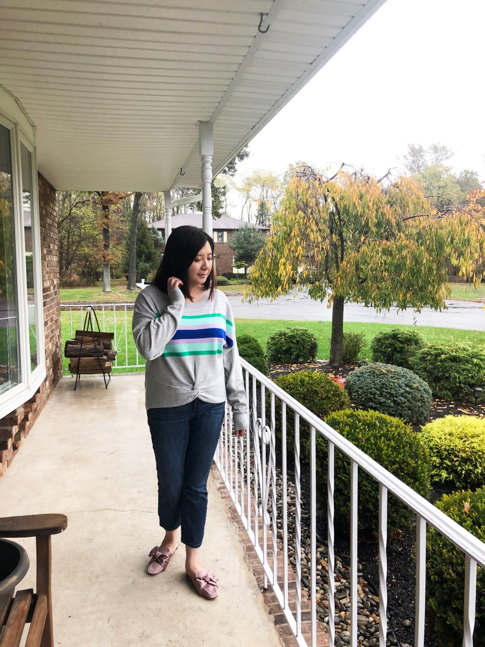 Striped Twist Front Pullover 4
