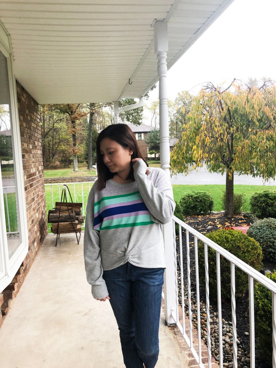 Striped Twist Front Pullover 6