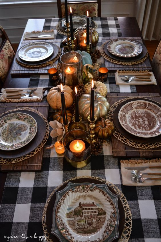 black gold & brass pumpkin table