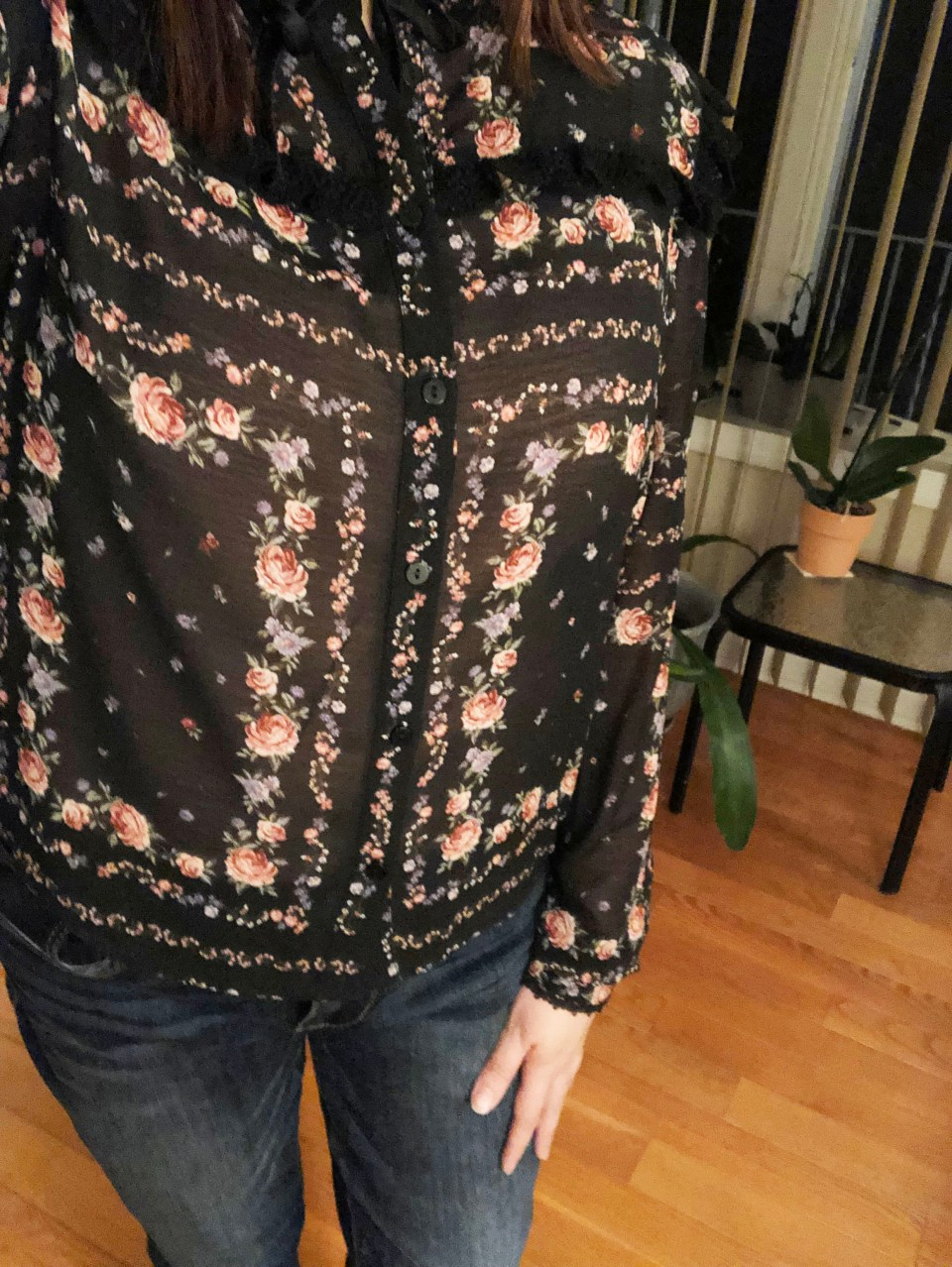 Black Floral Blouse 15