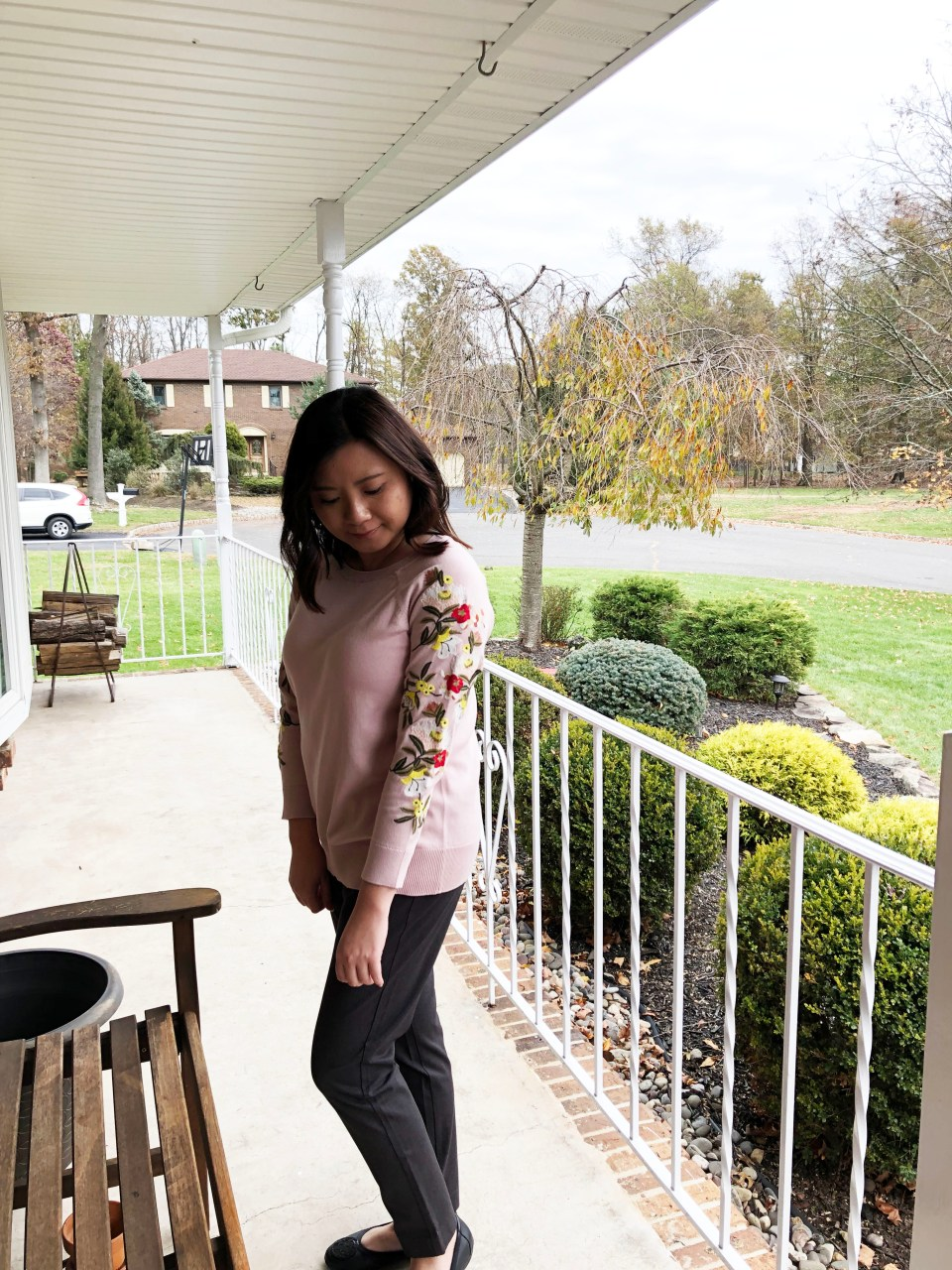 Embroidered Floral Sleeve Sweater 1