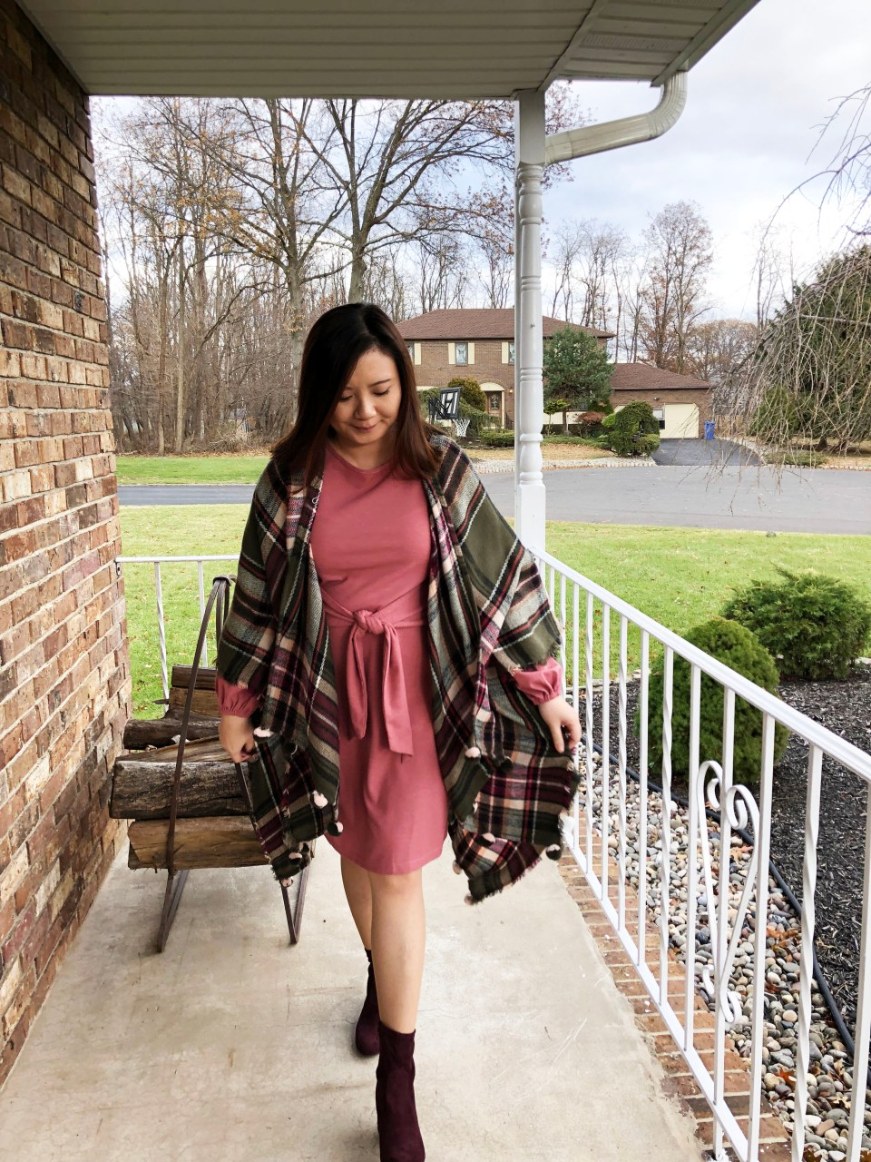 Pink Tie Waist Dress + Plaid Ruana 14