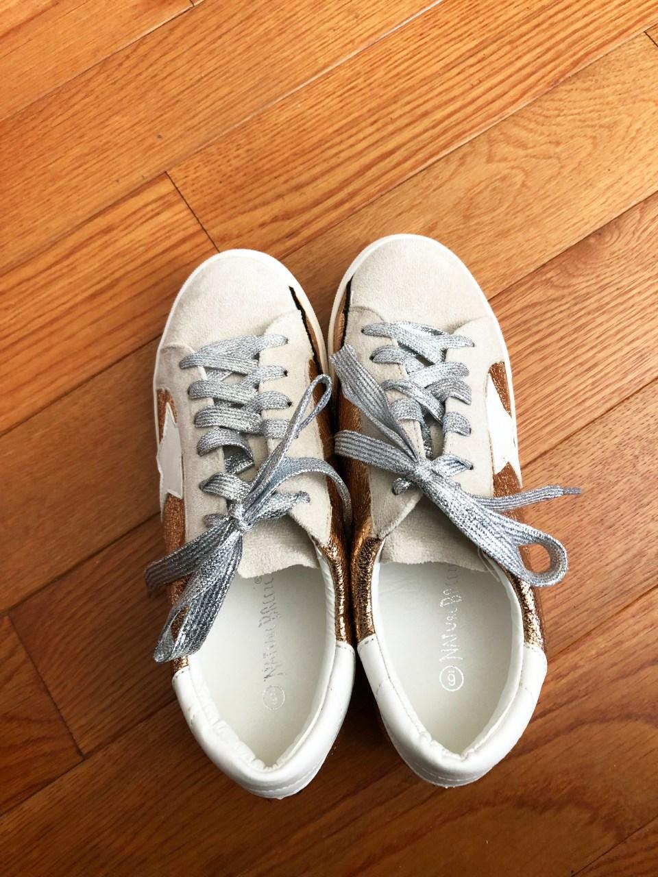 Rose Gold Star Sneakers 1