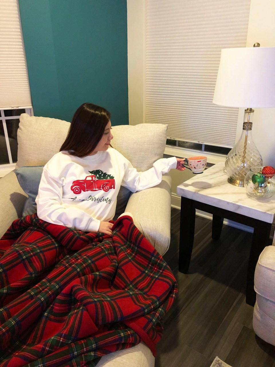 Christmas Tree Truck Sweatshirt + Plaid Sherpa Blanket 5