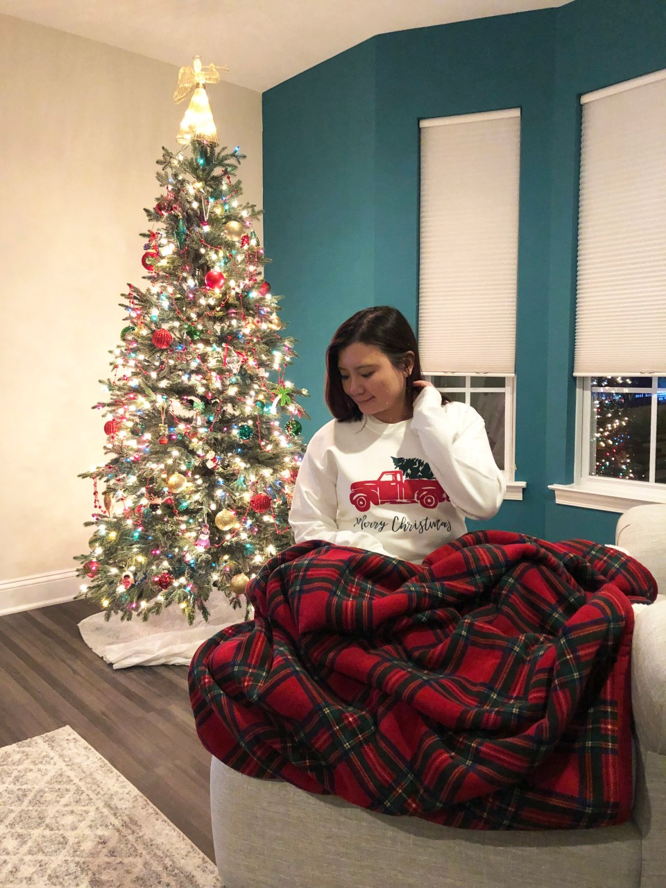 Christmas Tree Truck Sweatshirt + Plaid Sherpa Blanket
