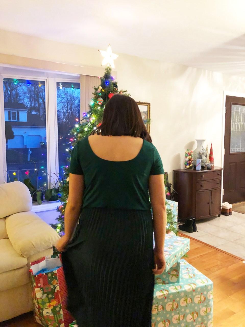 Emerald Green Pleated Midi Dress 8