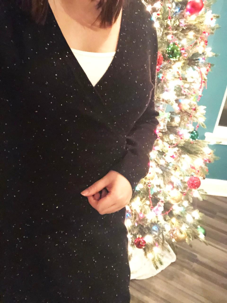 Flecked Wrap Sweater Dress 19