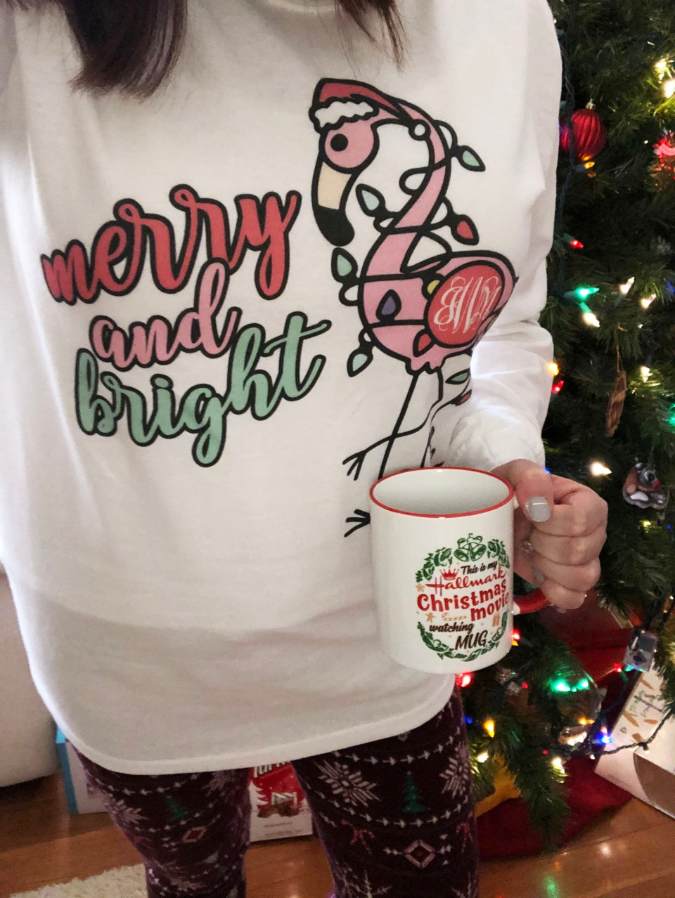 Merry & Bright Flamingo Tee 3