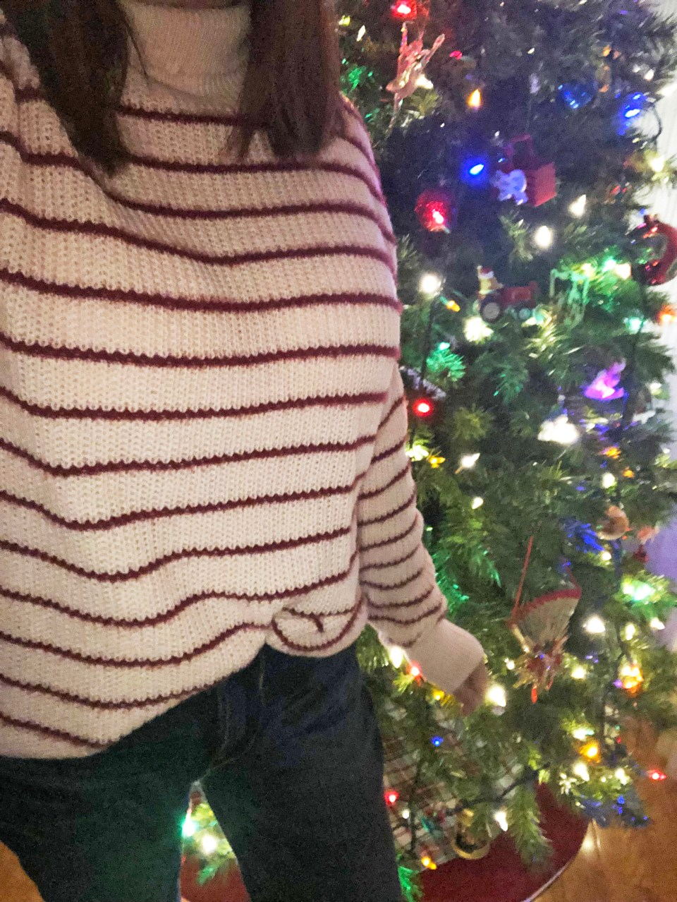 Pink & Red Striped Funnel Neck 16