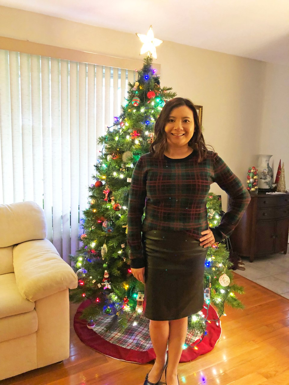 Plaid Sweater + Faux Leather Skirt 1