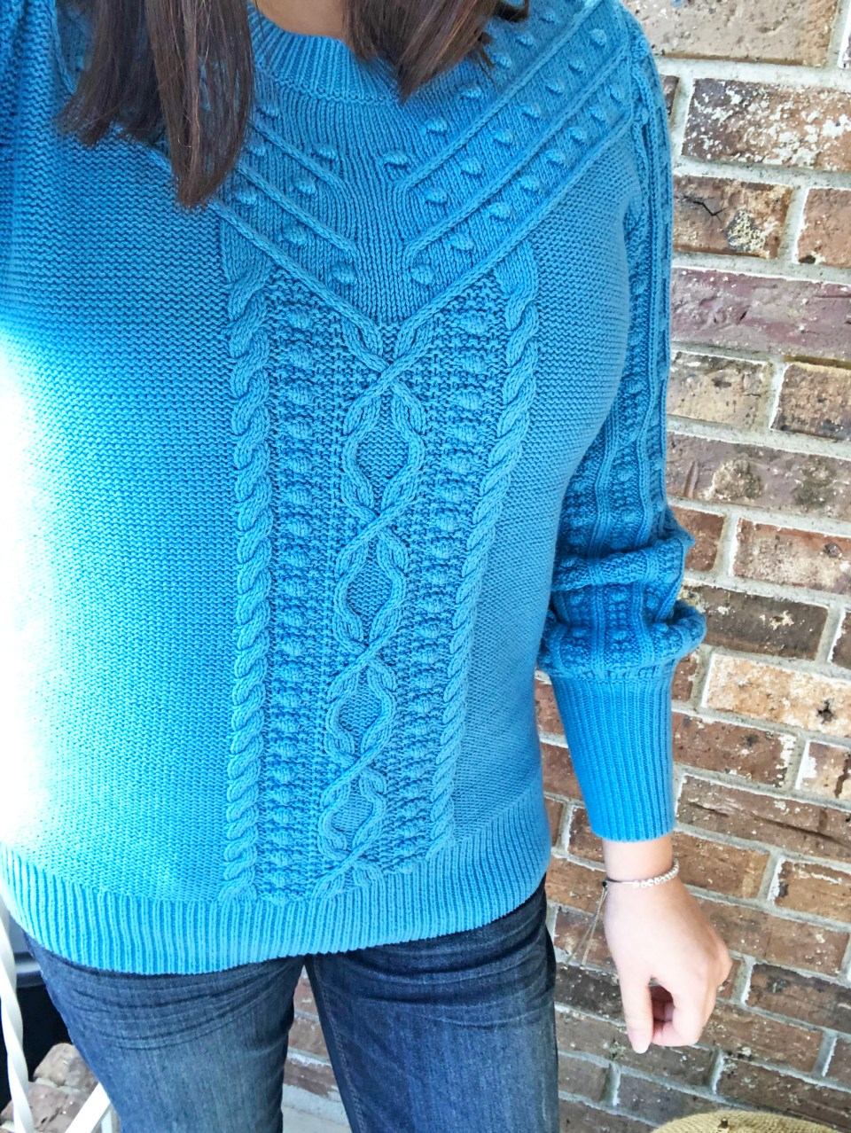 Blue Bobble Cable Knit 12