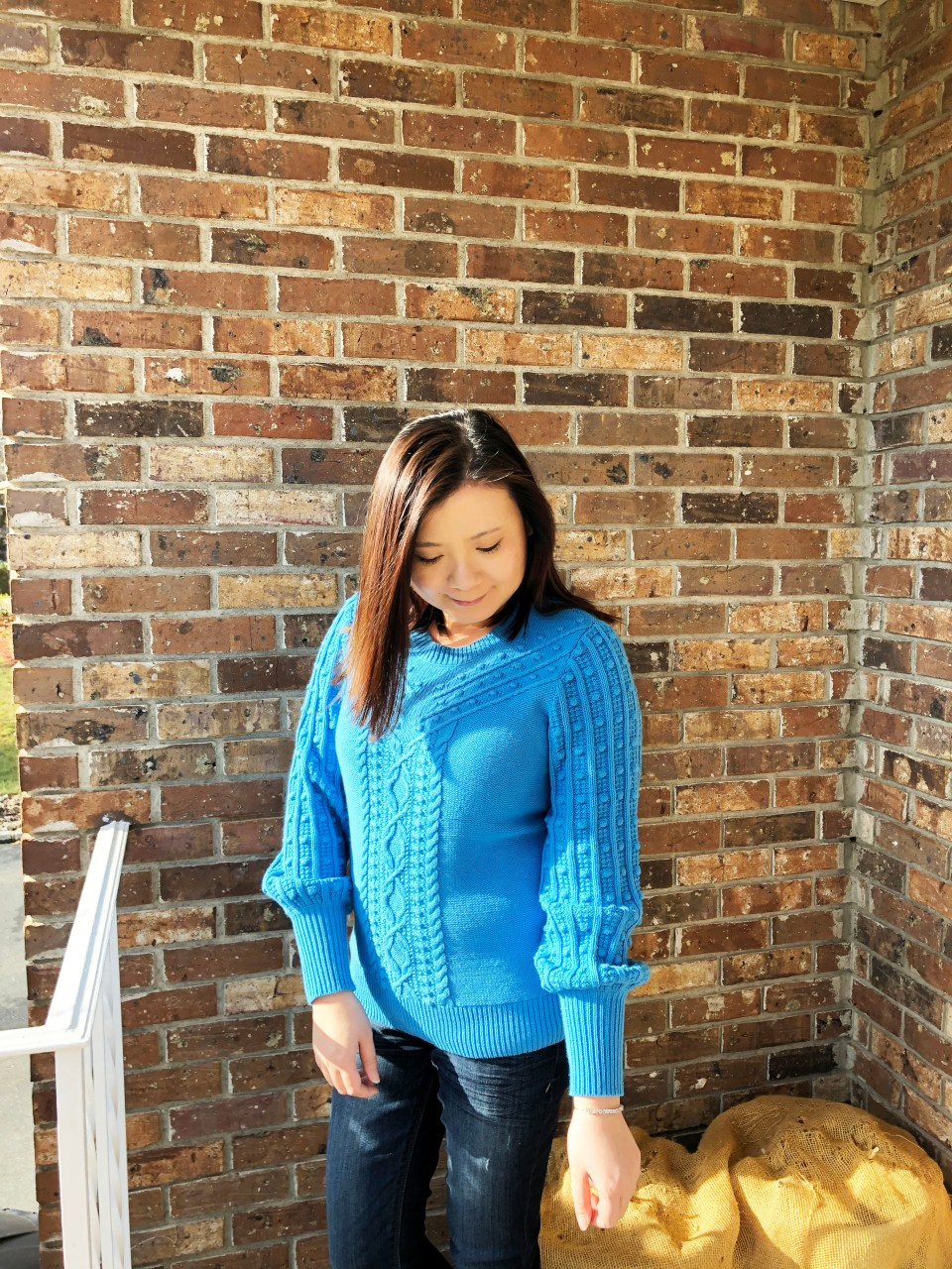 Blue Bobble Cable Knit
