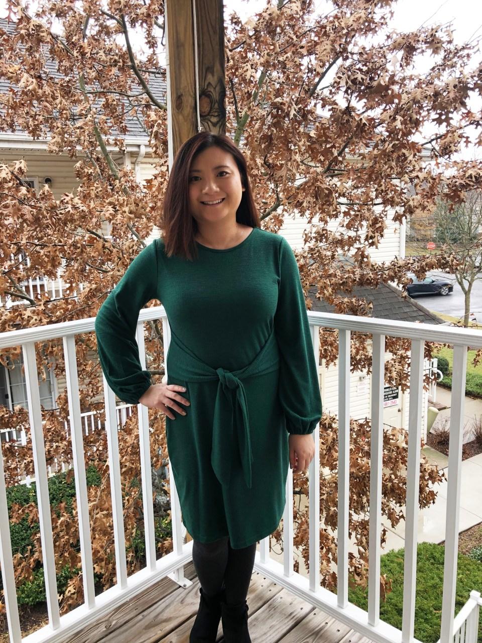 Green Tie Waist Dress 15