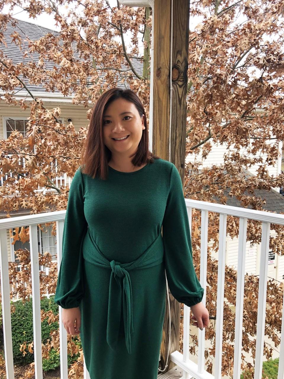 Green Tie Waist Dress 9