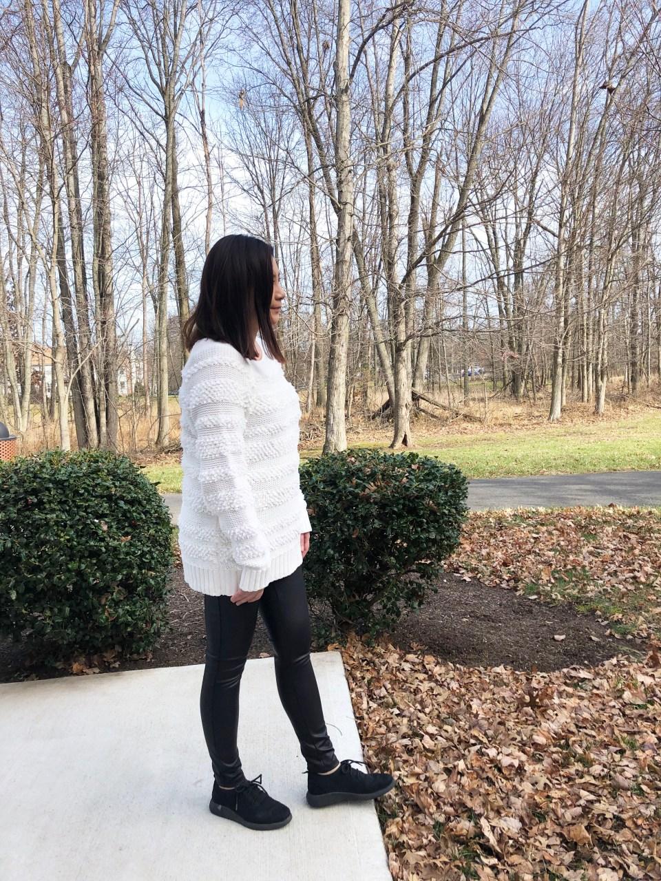 Loopstripe Sweater + Faux Leather Leggings 6