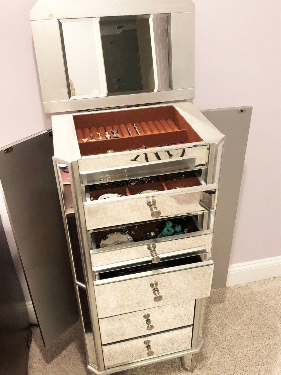 Mirrored Jewelry Armoire 12