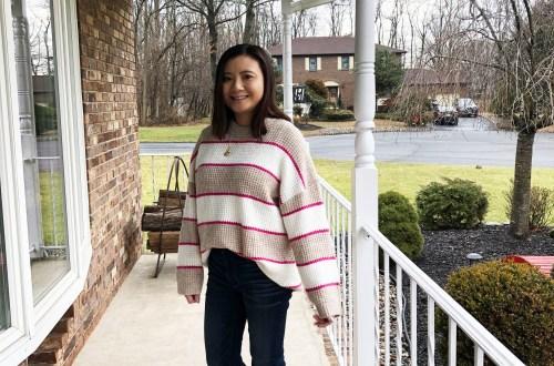 Pink & Beige Stripe Waffle Knit
