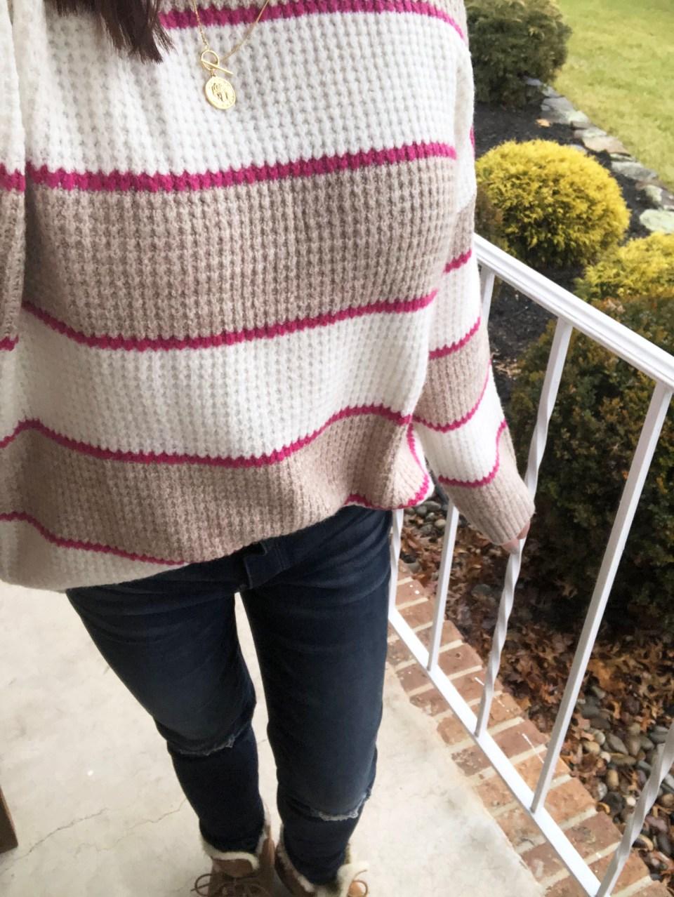 Pink & Beige Stripe Waffle Knit 18
