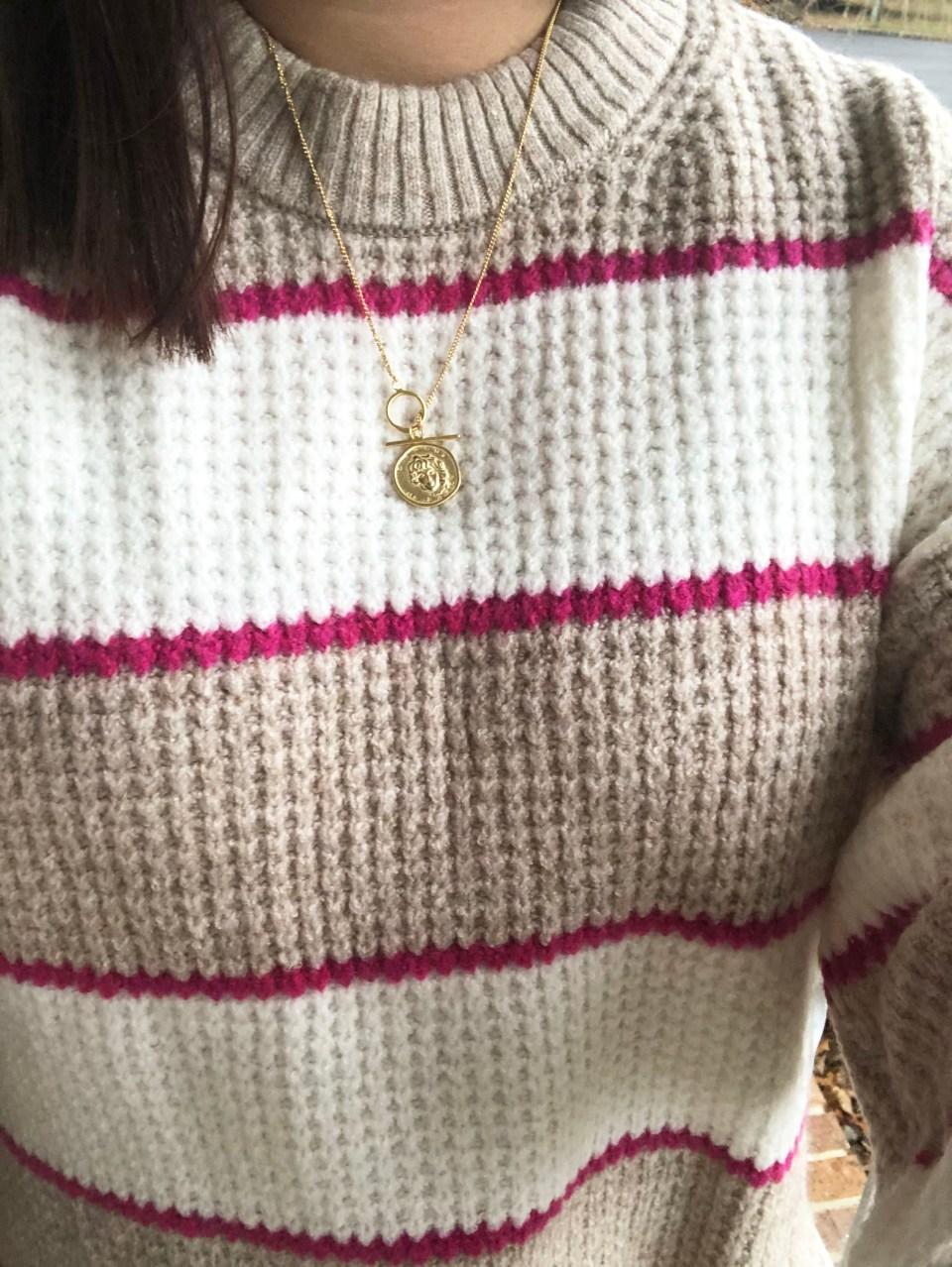 Pink & Beige Stripe Waffle Knit 19