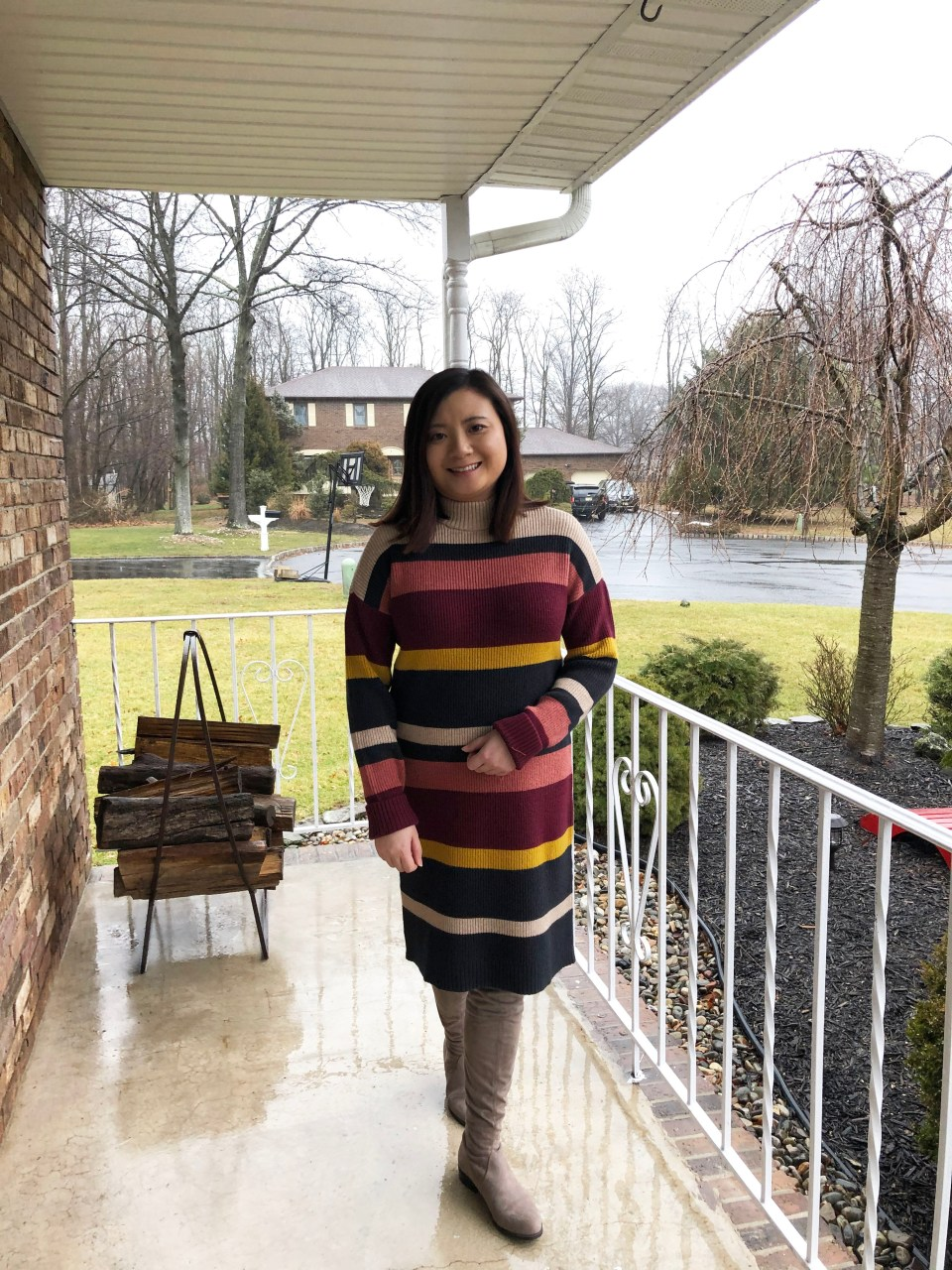 Striped Mockneck Sweater Dress 3