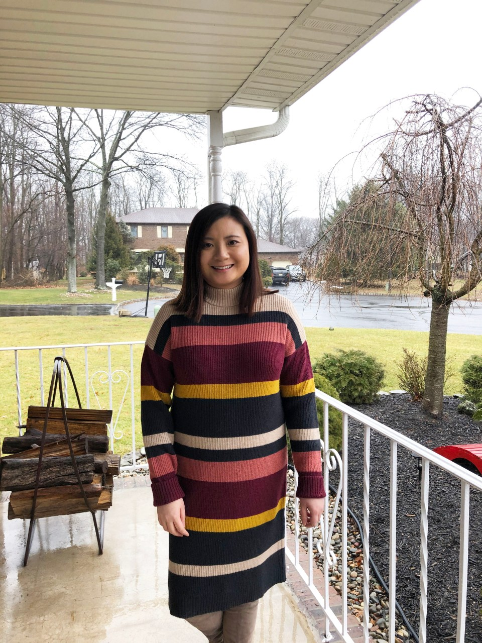 Striped Mockneck Sweater Dress 6