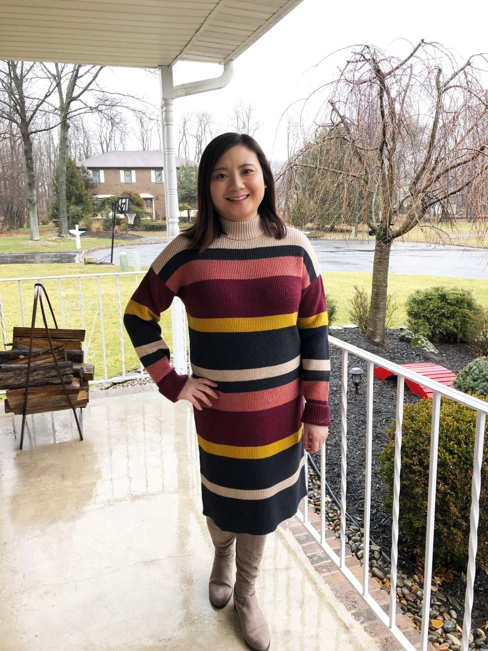 Striped Mockneck Sweater Dress