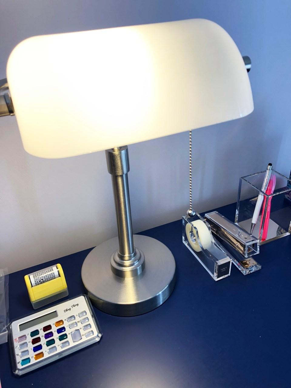 White Banker's Lamp 1