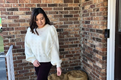 Eyelet Ruffle Sweater