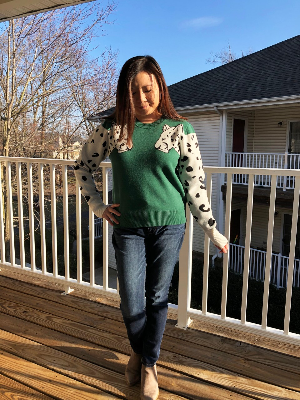 Leopard Sleeve Sweater 1