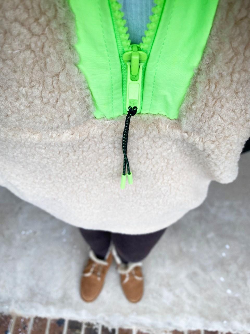 Neon Trim Shearling Pullover 16
