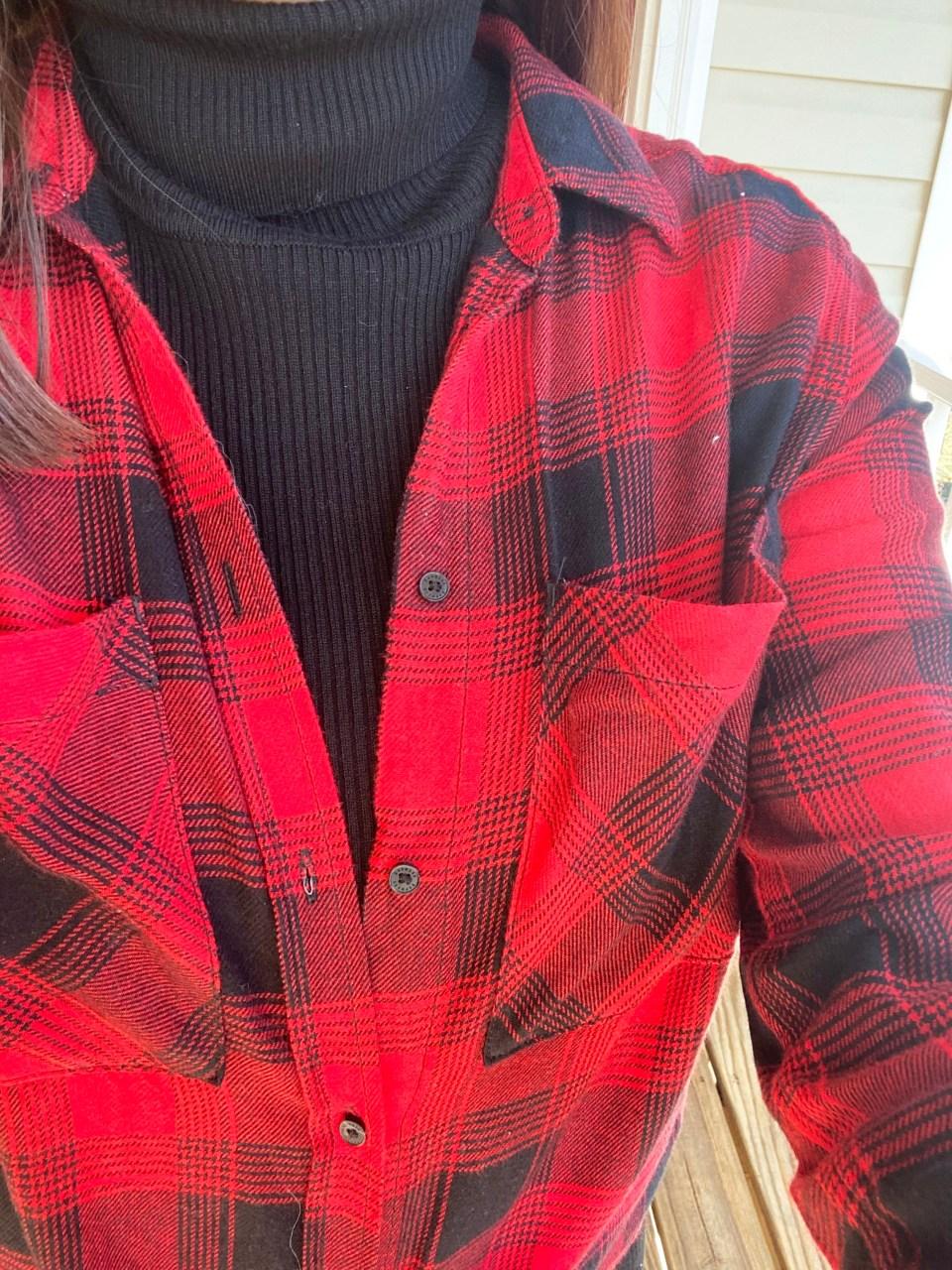 Turtleneck Ribbed Dress + Plaid Shirt 11