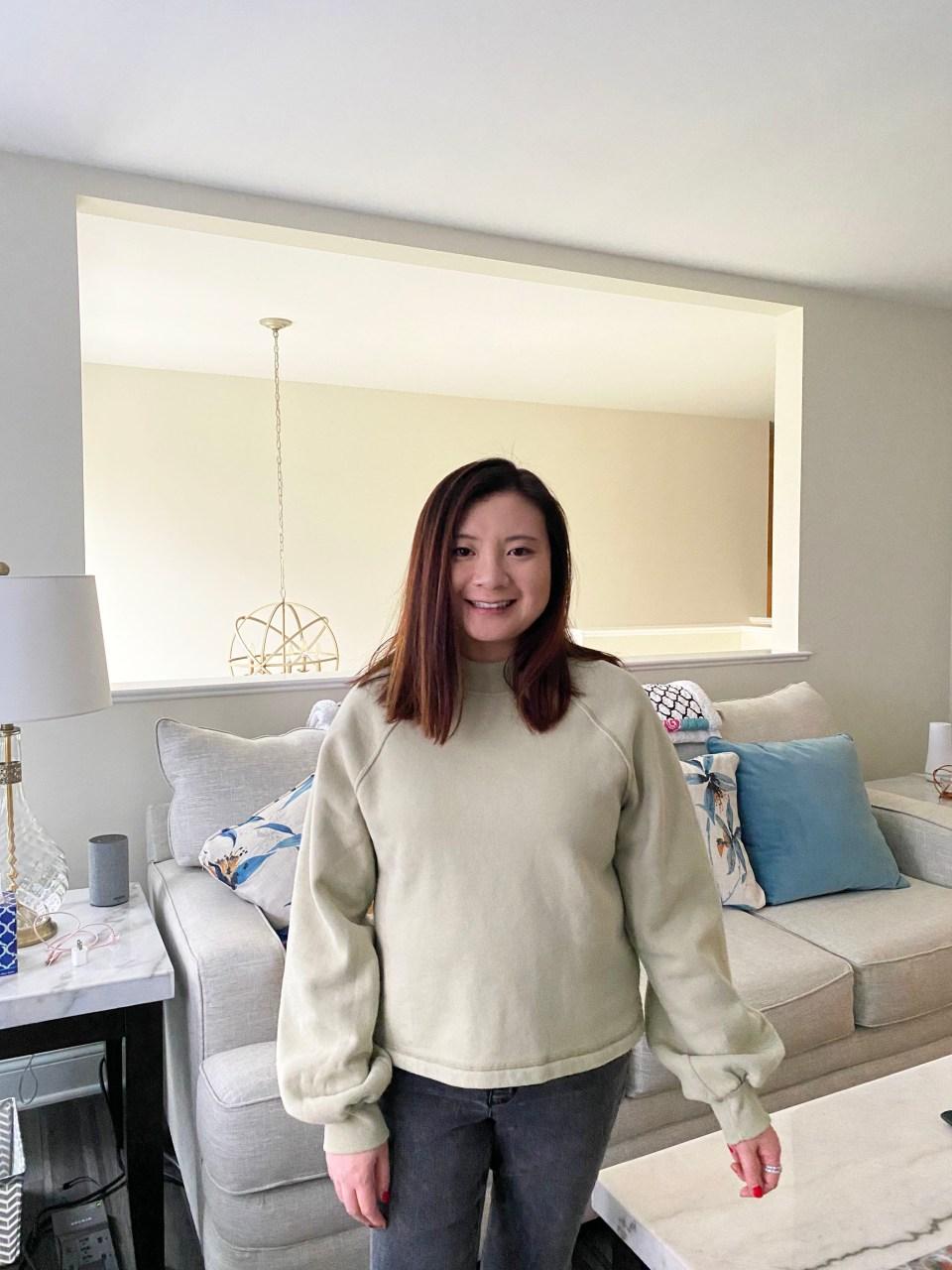 Green Mini Mock Neck Sweatshirt 4