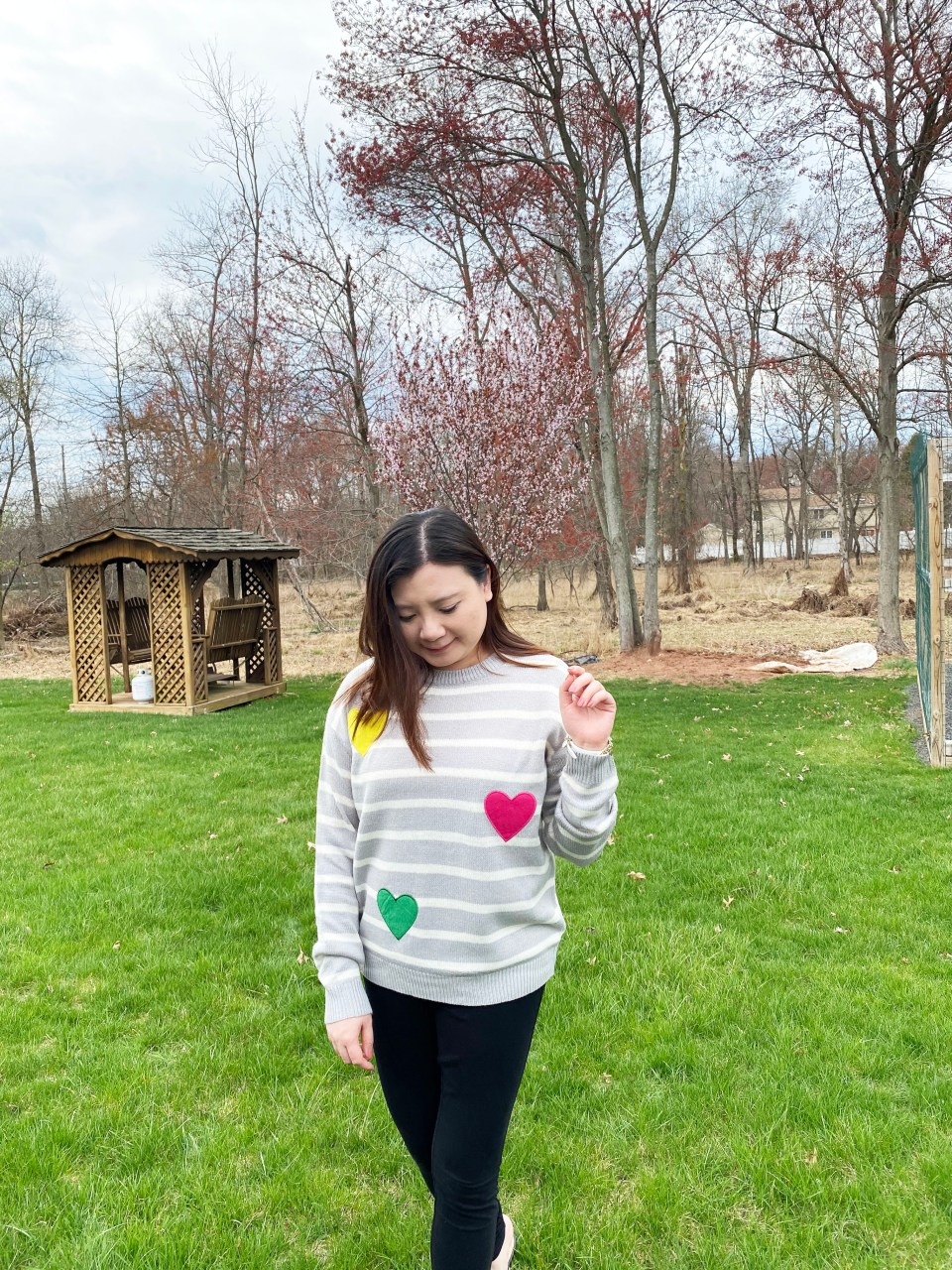 Striped Heart Applique Sweater 11