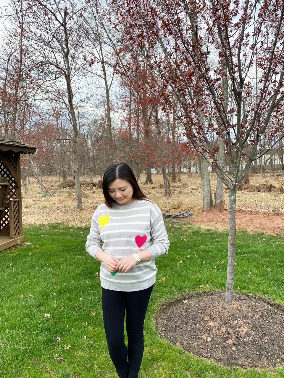 Striped Heart Applique Sweater 4